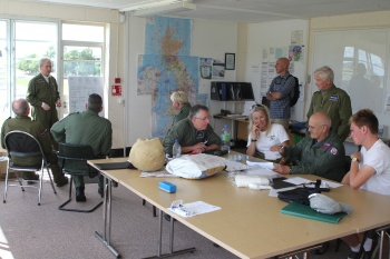Pilots briefing in the tower at Duxford