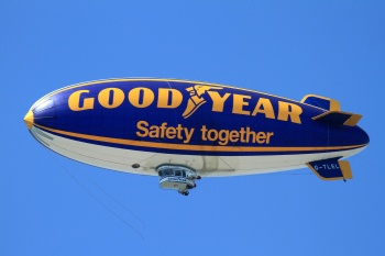 The crashed Goodyear Airship
