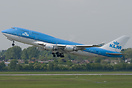 A diverted KLM Jumbo seen leaving Dusseldorf after it was forced to di...