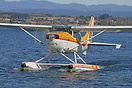 A Cessna U206F Stationair floatplane on Lake Taupo.