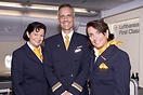 Lufthansa Cabin crew proudly posing inside the Airbus A380-800 first c...