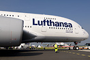 Lufthansa Airbus A380 seen beeing towed to the display stand at the Be...