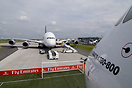 Emirates A380 together with the first Lufthansa Airbus A380. Berlin Ai...