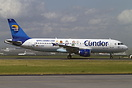 This Airbus A320-200 of Thomas Cook (Condor) D-AICE is wearing new Pea...