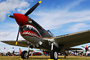 Curtiss P-40 fighter aircraft of the Flying Tigers, with their iconic ...