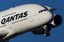 A super close up as a Qantas A380 turns in on a close right base to Me...