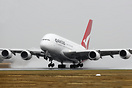 Qantas's first A380 VH-OQA departs a wet Avalon for Sydney after a sta...