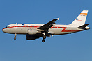 Iberia Airbus A319 in retro special retro colors landing at MXP airpor...