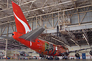 "A Qantas Boeing 747 in ""Wunala Dreaming"" special colours seen inside a..."