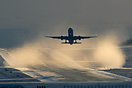 Jet2 Boeing 757-200 blasting the snow and ice all over the place at ab...