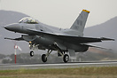 A Japan based USAF F-16C commences its demonstration at the 2007 Avalo...