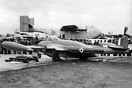 RAF de Havilland Venom FB1 WE281 on static display at the 1952 SBAC sh...