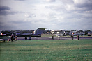 Four RAF Gloster Javelin FAW1 aircraft are about to depart from the 19...