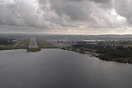 Short final for Stavanger Airport, with some showers in the background...