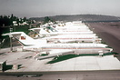 Line up of new Boeing 727 aircraft at Seattle awaiting delivery