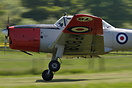 De Havilland DHC-1 Chipmunk G-BVTX fighting the very strong cross wind...