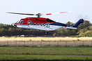 A CHC-operated Sikorsky S92 departing from Esbjerg to the Danish oil p...