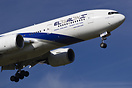 Israeli wide-body Boeing 777 from El Al on short final for runway 09L ...