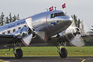 The DC-3 from Dakota Norway taxiing to the apron at Sindal Airport wit...
