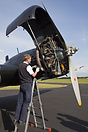 Engine inspection on the Junkers Ju-52 D-AQUI