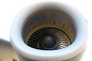 Close up of one of the four Pratt & Whitney F117-PW-100 turbofans that...