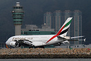 EK384 arriving from Bangkok and Dubai passing the main control tower a...