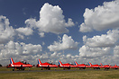 The RAF display team Red Arrows lined-up under a living Danish sky bef...