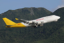 The first Kalitta 747-400F to be painted into the two-tone white/yello...