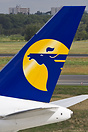The tail logo of Mongolian Airlines seen in Berlin-Tegel, Germany