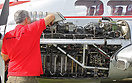 Maintenance of the left Gypsy Queen engine of a de Havilland Dove
