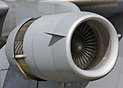 Front view of the powerful Pratt & Whitney F117-PW-100 turbofan engine...