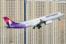 Hawaiian Airbus A330-200 seen taking off in front of the remarkable La...