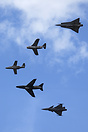 Unique historical SAAB jet formation: (from top) 35 Draken, 29 Tunnan,...