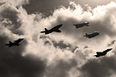 Unique historical SAAB jet formation: (from left) 39 Gripen, 32 Lansen...