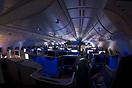 View of the businessclass section of the A380 inflight.