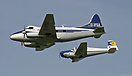 De Havilland Canada DH-104 Dove 8 (D-IFSA) in formation with SAAB 91B ...