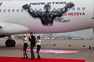 "Hugh Jackman at the unveiling of Virgin America's ""Real Steel"" plane, ..."