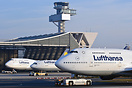 Lufthansa Boeing 747-430 D-ABTK in front of the Lufthansa Technik hang...