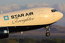 One of Star Air's Boeing 767 freighters on an evening departure from E...