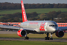 G-LSAJ seen here after touching down in front of Jet2's huge office co...