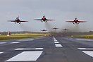 Formation take-off seen head-on from the end of runway 08