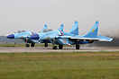 MiG-29C 9-13 28 and 29 red depart from Lipetsk.  Both finished in a sp...