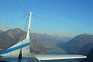 In flight over Lake Como