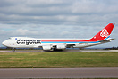 One of 2 Cargolux 747s to visit East Midlands today transporting Formu...