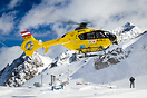 Picking up an injured person in the skiing resort Stubaier Gletscher, ...