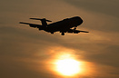 BAC 111 ZH763 landing at sunset is used by QinetiQ at Boscombe Down fo...