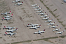 Delta Airlines DC-9s and Northwest Boeing 757-200s on storage at Pinal...