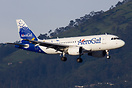 An AeroGal A319 landing in Quito seen in front of the typical mountain...