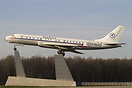This Tupolev is displayed nearby the Vnukovo Airport in a motorway jun...