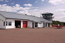 The Terminal building and Control Tower at Oban Airport.  The Airfield...
